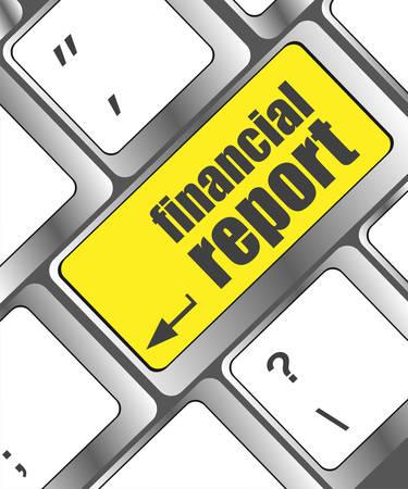 financial emergency: keyboard key with financial report button
