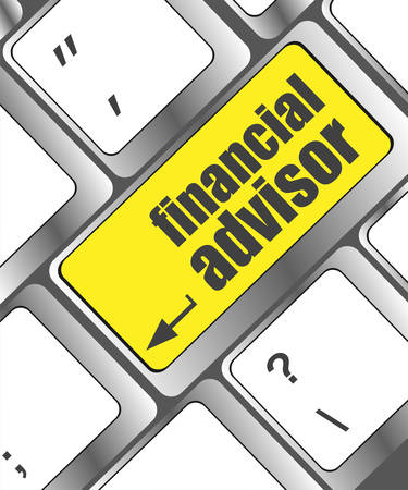 advisor: keyboard key with financial advisor button, business concept