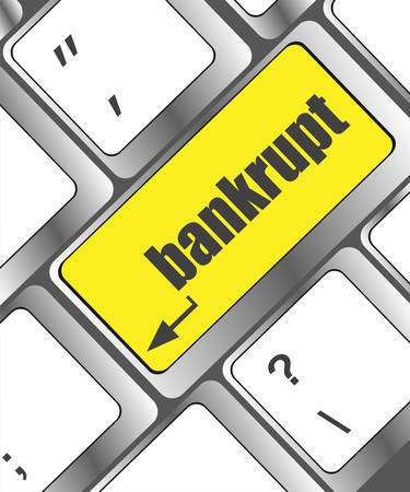 financial emergency: A keyboard with key reading bankrupt, business concept