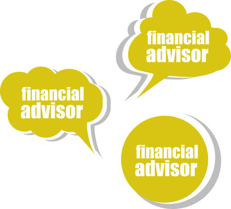 advisor: financial advisor. Set of stickers, labels, tags. Template for infographics Illustration