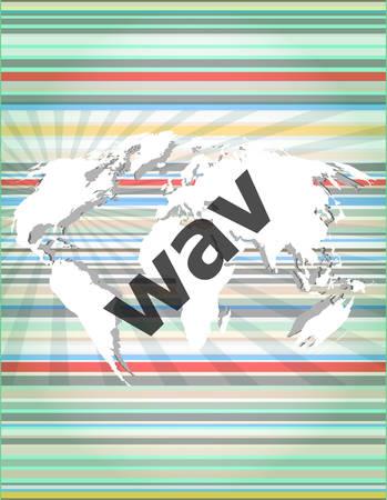 mpg: digital concept: wav word on digital screen Illustration