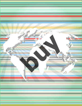 realestate: The word buy on digital screen, business concept