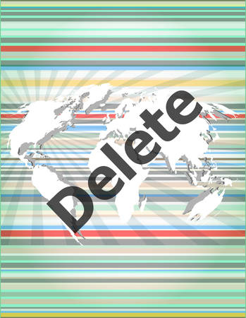 The word delete on digital screen, information technology concept Vector