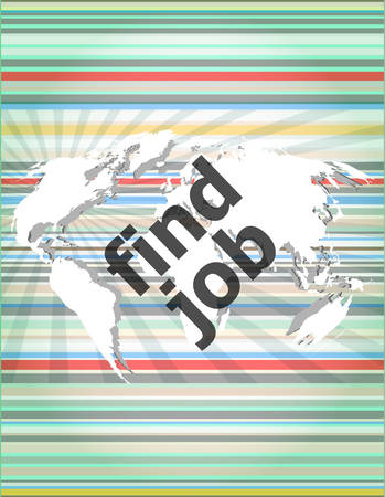 temporary workers: find jobs on digital touch screen, social concept Illustration