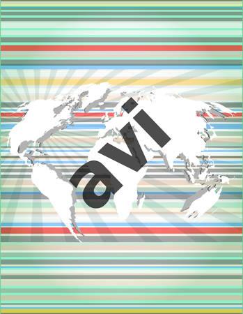 mpg: digital concept: avi word on digital screen Illustration