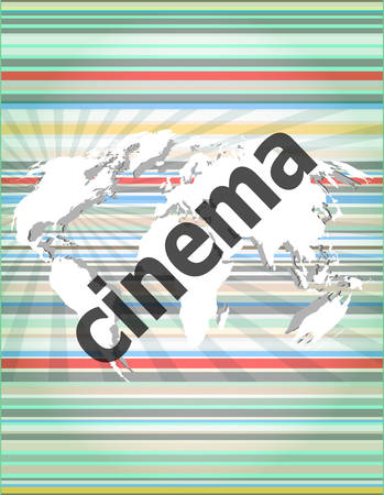 cinema screen: cinema word on digital screen with world map