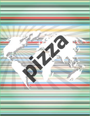 pizza place: pizza, hi-tech background, digital business touch screen