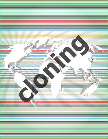 clonacion: clonaci�n palabra, fondos pantalla t�ctil con botones transparentes. concepto de internet moderno