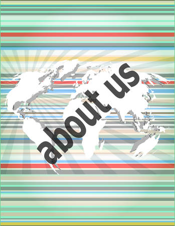 about us: pixelated words about us on digital screen, business concept Illustration