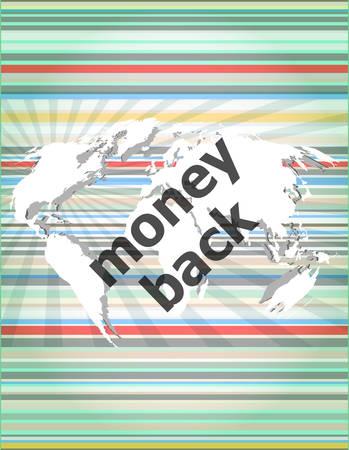 words money back on digital screen, business concept Vector