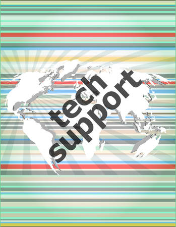 tech support text on digital touch screen - business concept Illustration