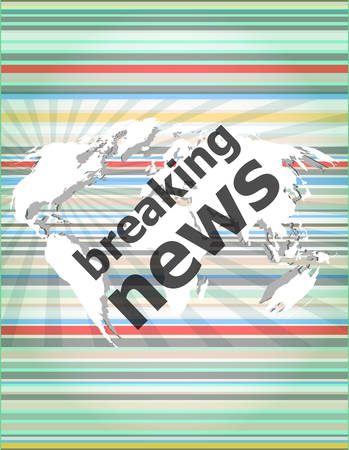 digital news: News and press concept: words breaking news on digital screen Illustration