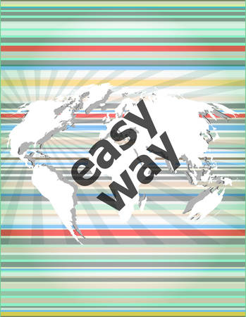 easy way: social concept: easy way word on digital screen