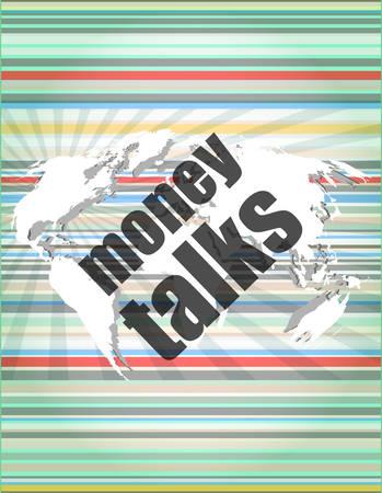 conversaciones: dinero habla las palabras en la pantalla t�ctil digital Vectores