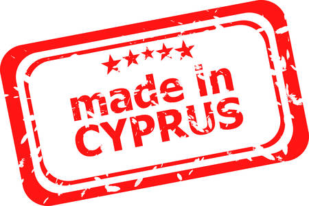cyprus: Red rubber stamp of made In cyprus