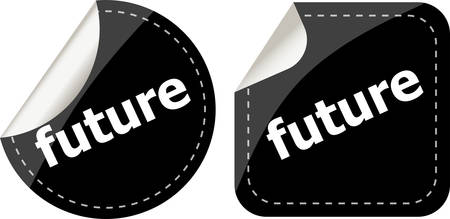 black future stickers set on white, icon button Vettoriali