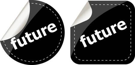 icona: black future stickers set on white, icon button Illustration