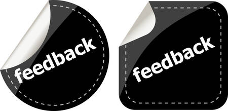 feedback label: stickers label set business tag with feedback word