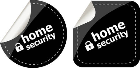 proxy: home security with lock on black stickers set Illustration
