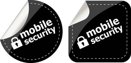 mobile security black stickers label tag set Vector
