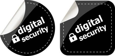 digital security: digital security black stickers label tag set Illustration