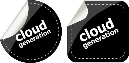 Cloud generation icon, label stickers set Illustration