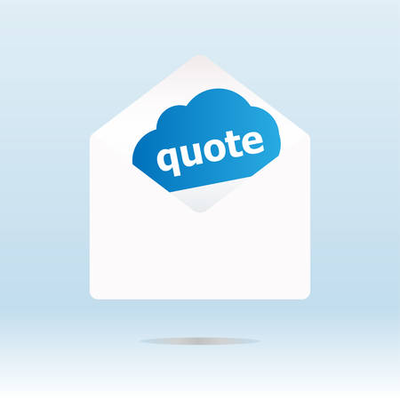 mail envelope: quote on blue cloud, paper mail envelope