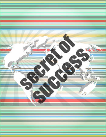 touch screen interface: secret of success text on digital touch screen interface Illustration