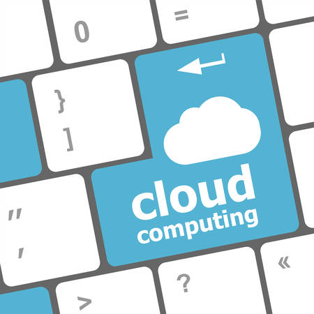 it support: Cloud computing concept showing cloud icon on computer key. Illustration