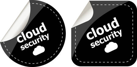 cloud security black stickers label tag set Vector