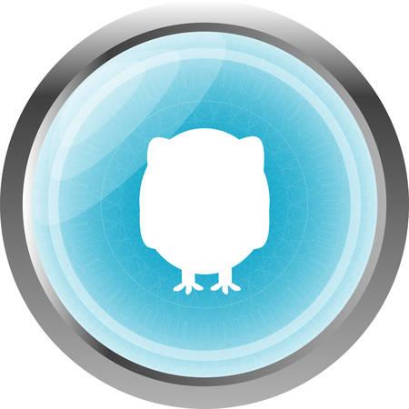siluetas: Owl on icon button isolated on white
