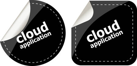 computering: cloud application black stickers label tag set