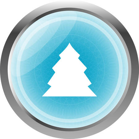 icey: button with christmas tree on it, icon isolated on white Illustration