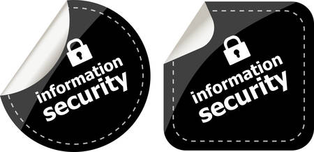 information security black stickers label tag set Vector