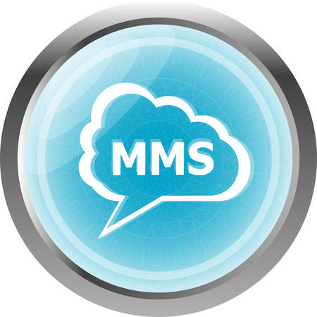 mms: mms glossy web icon isolated on white background