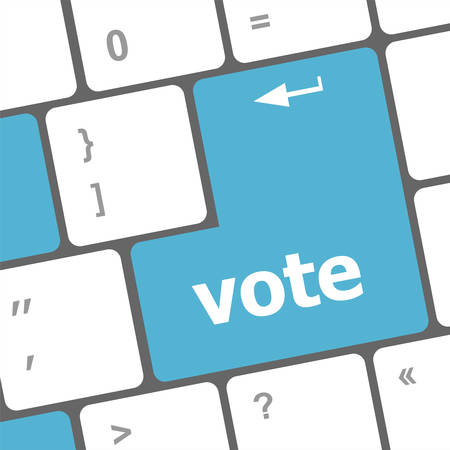 vote button: democracy concept with vote button on keyboard Illustration