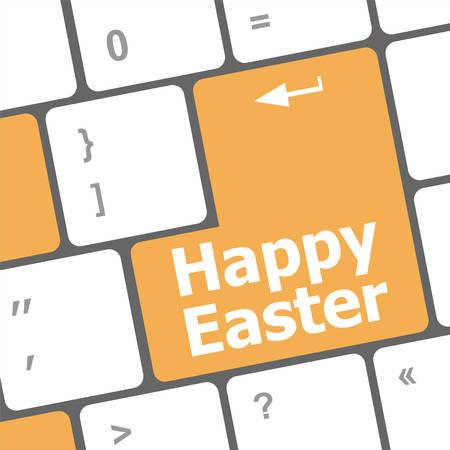 keyboard keys: happy easter text button on keyboard keys