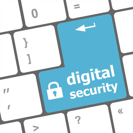 digital security: Safety concept: computer keyboard with digital security icon on enter button background