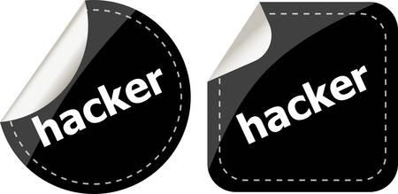 break in: pegatinas de hackers negros puestos en blanco, bot�n con el icono Vectores