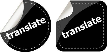 icona: black translate stickers set on white, icon button