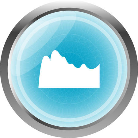 caustic: mountain on glossy web icon isolated on white background