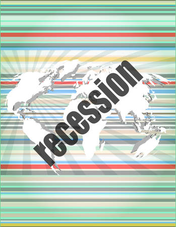recession: Business concept: words recession on business digital screen, 3d Illustration