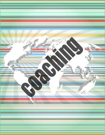 coaching: le coaching mot � l'�cran tactile, fond de technologie virtuelle moderne