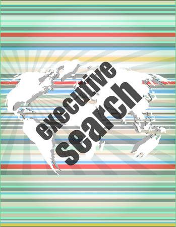 executive search: executive search word on digital screen, mission control interface hi technology Illustration