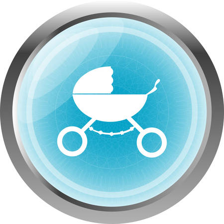 stroller web icon isolated on white Vector