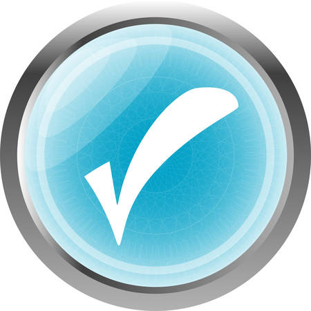regular tetragon: glossy web button with check mark sign. shape icon isolated on white