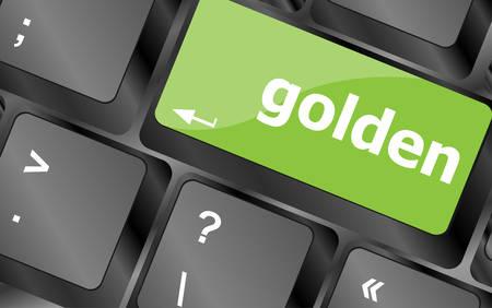 computer button: golden on keyboard key, notebook computer button