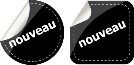 black new word on stickers set on white, icon button
