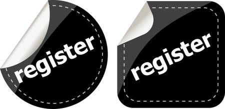 became: register black stickers set, icon button