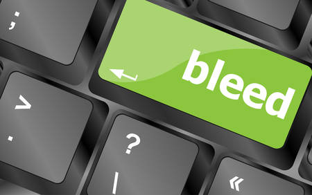 bleed: bleed word on keyboard key, notebook computer button Illustration